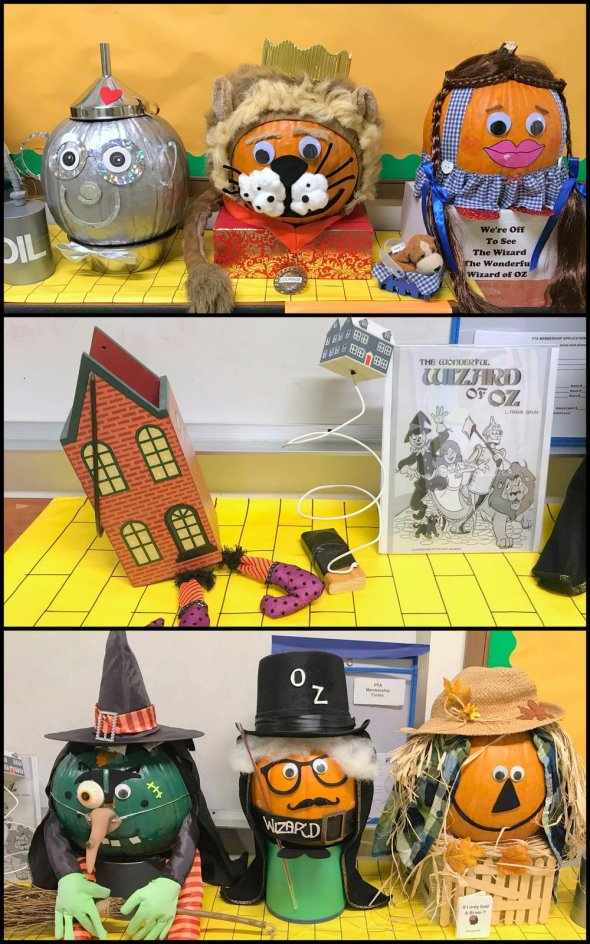Collage of decorated pumpkins and Halloween decorations