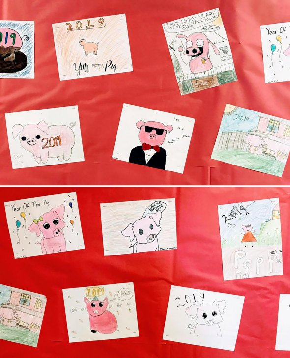 Collage of student drawings of pigs for Lunar New Year 2019