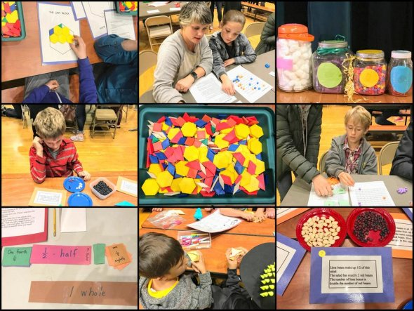 Collage of students taking part in math event