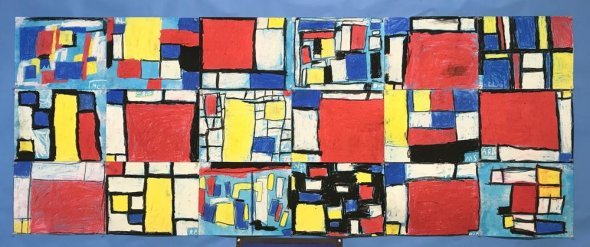 Collage of Mondrian-inspired artwork by students