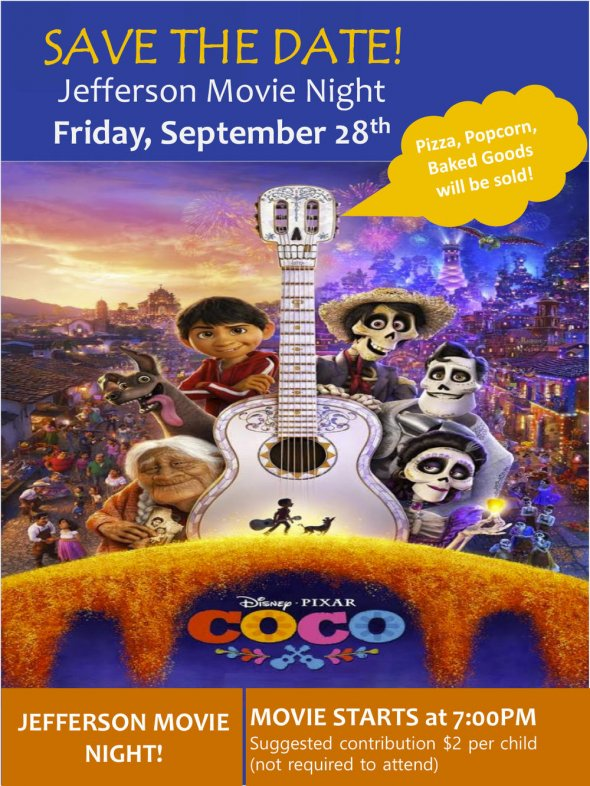 "Poster for Jefferson's movie night screening of ""Coco"""
