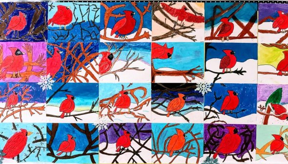 Collage of red bird perched on a tree branch