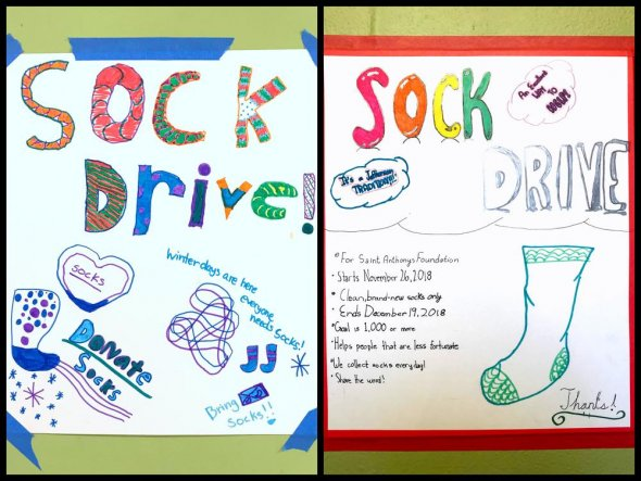 Two student-drawn posters for sock drive