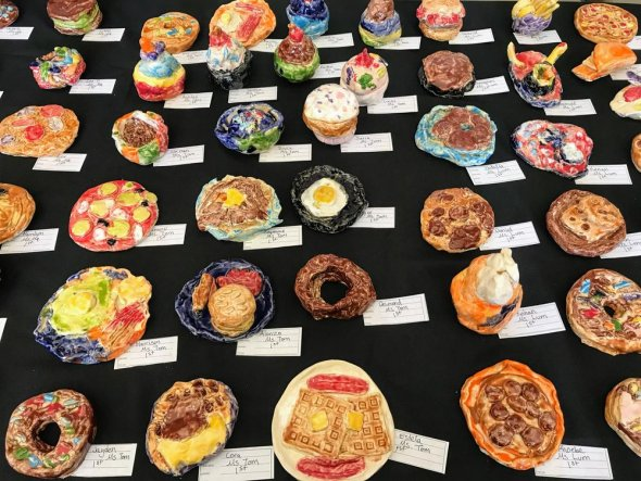 Student art pieces that look like food items