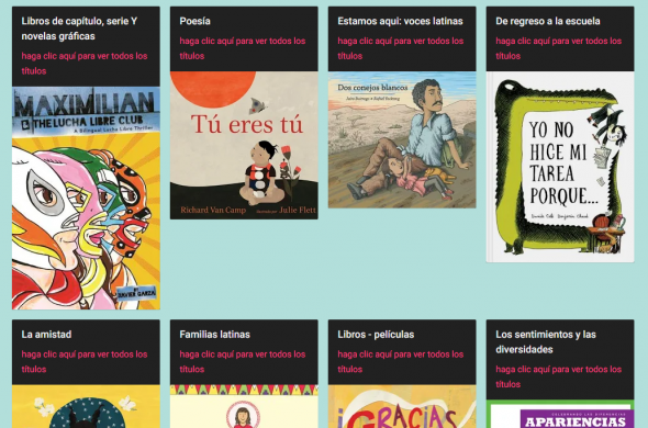 a collection of covers of Spanish language children's books