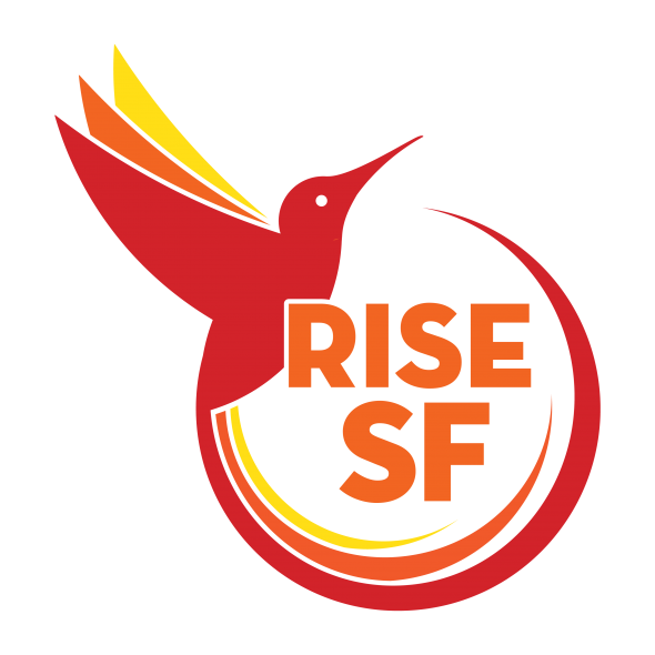 Red humming bird with yellow and orange accented wings and tail, encircling RISE-SF name.