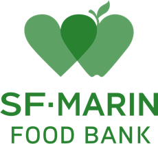 SF Marin Food Bank Logo - two green hearts are overlapping, the one on right looks like an apple