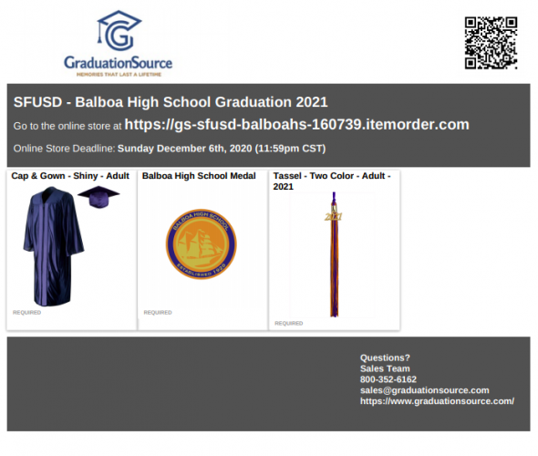 Balboa Cap and Gown Order Link