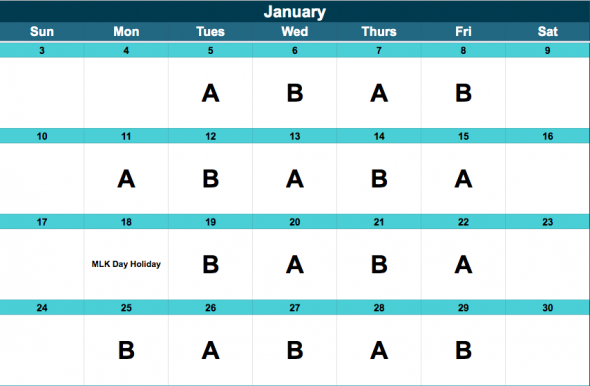 Middle School A/B Schedule, January.