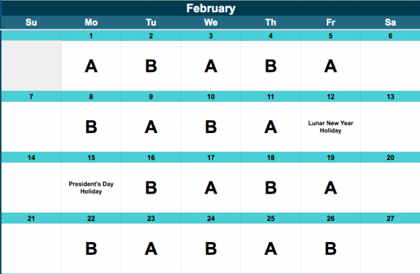 Middle School A/B Schedule, February.
