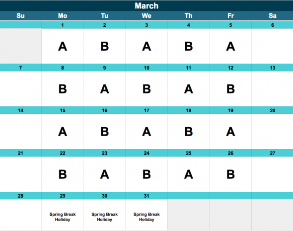 Middle School A/B Schedule, March.
