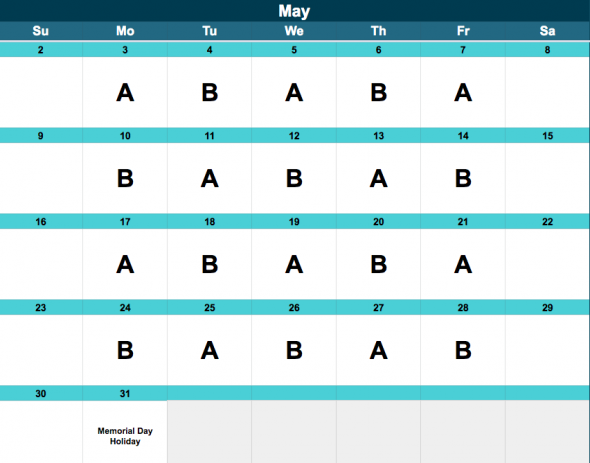 Middle School A/B Schedule, May.