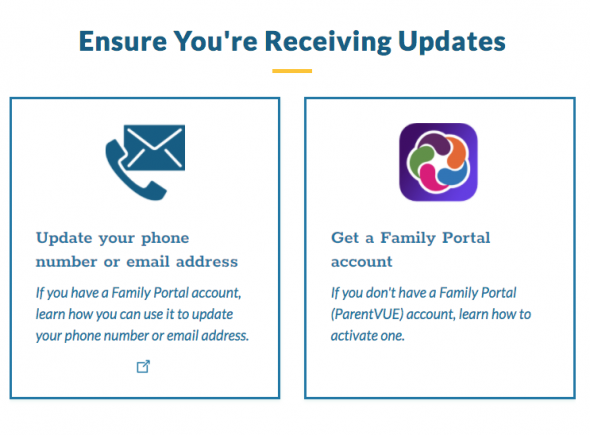 picture of the family portal logo and a telephone icon with more information about updating information