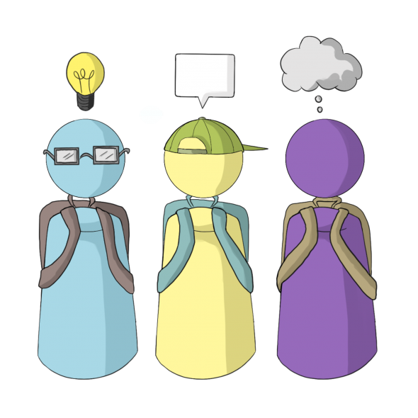 illustration of 3 students thinking
