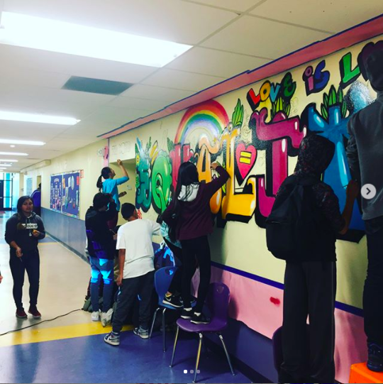 VVMS Students working on Equality mural