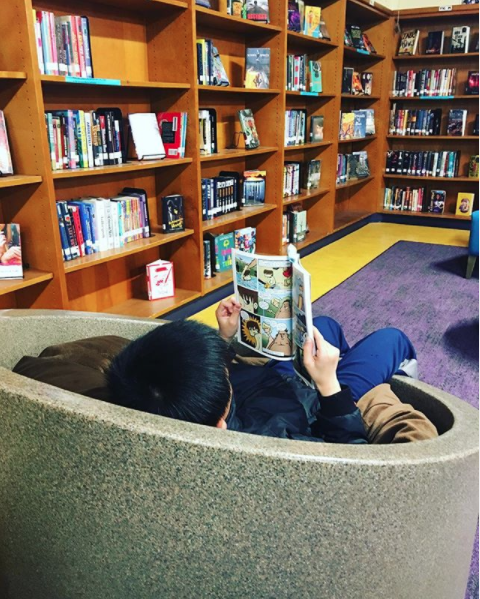 Student reading a book in the VVMS library