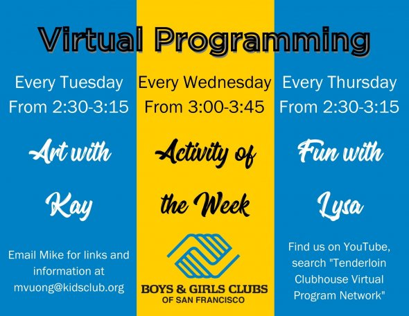 boys and girls club virtual programming flyer