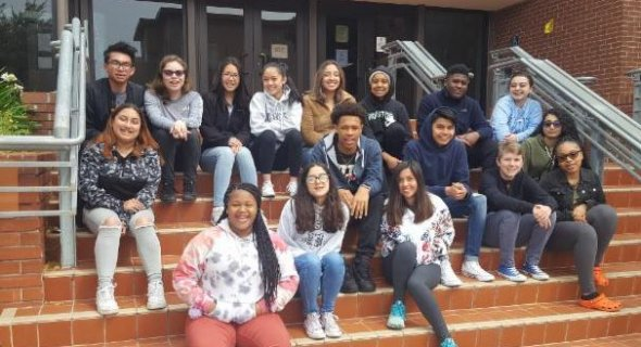 Student's from Cory Walsh's AVID class pose for year end picture