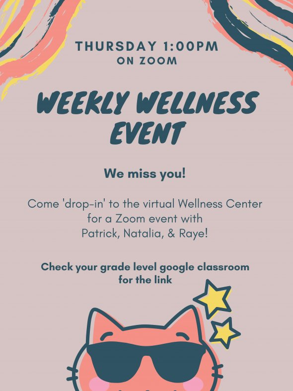Weekly Wellness Event; information listed on postcard as text.