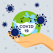 An earth is worried about Covid-19 and it wears a mask while it's held up by a hand