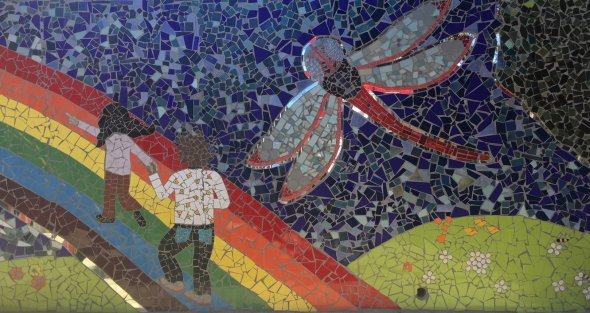 mosaic of students and dragonfly