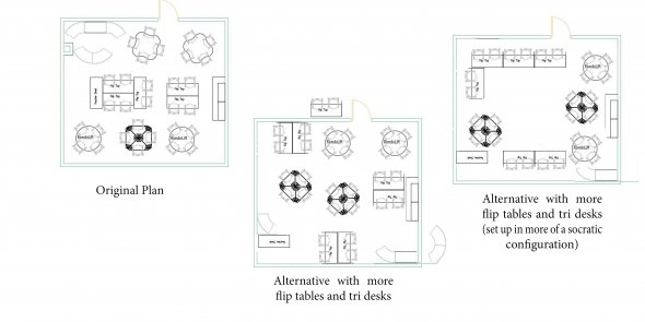 3 floorplans of classrooms