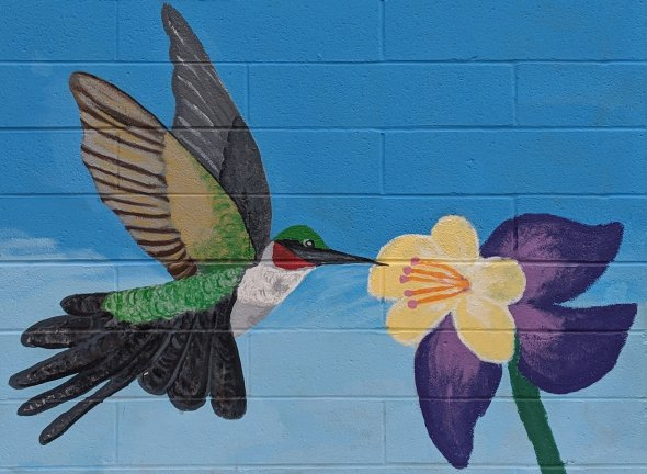 Mural painting of hummingbird and flower