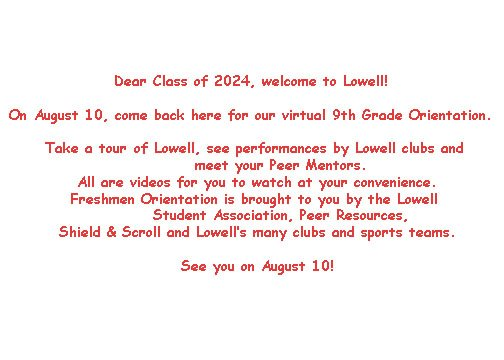 text image saying online Freshman orientation here August 10th