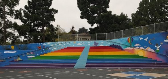 Photo of lower yard rainbow stairs
