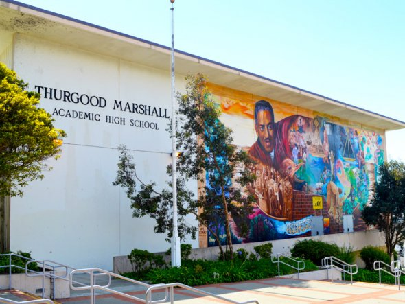 Thurgood Marshal High School building mural