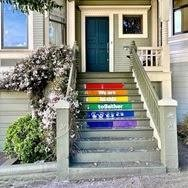 House steps painted as book spines
