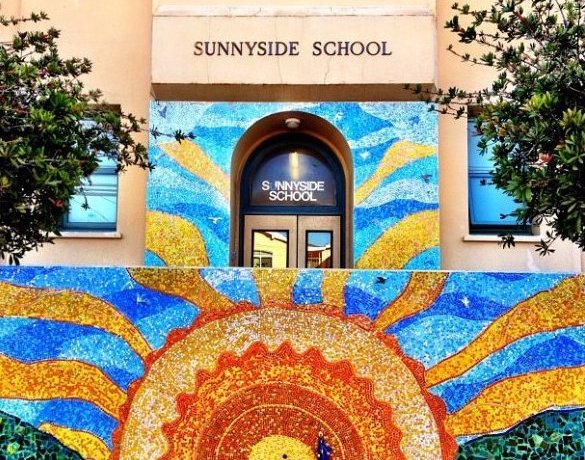 Sunnyside entrance and bright mural