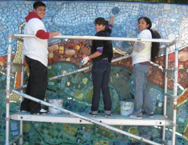 Students working on a mosaic