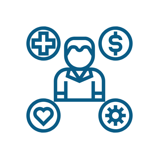 Icon of person surrounded by benefits symbols