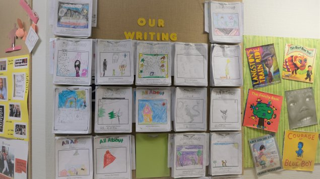collection of student writing projects on wall