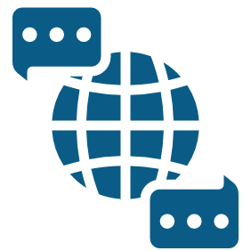 Icon of globe and speech bubbles