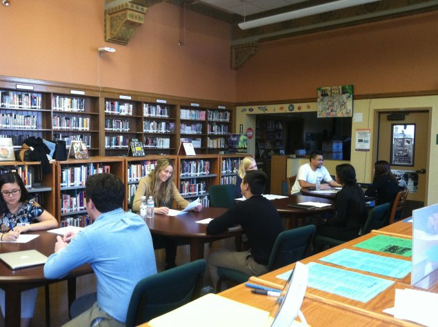 Students participate in mock interviews with industry professionals.