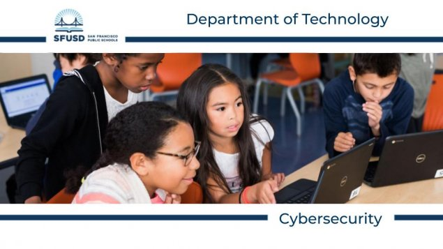 Department of Technology Cybersecurity, image of children engaged in front of computers