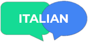 "speech bubbles with the word ""Italian"""