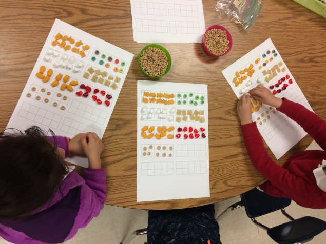 Students using objects like cereal and gummy bears to make groups of 10