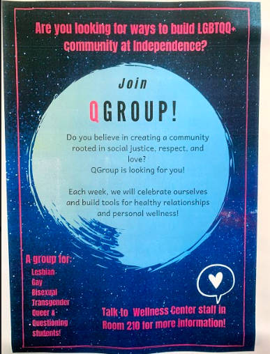 Flyer for confidential LGBTQ socio-emotional group.