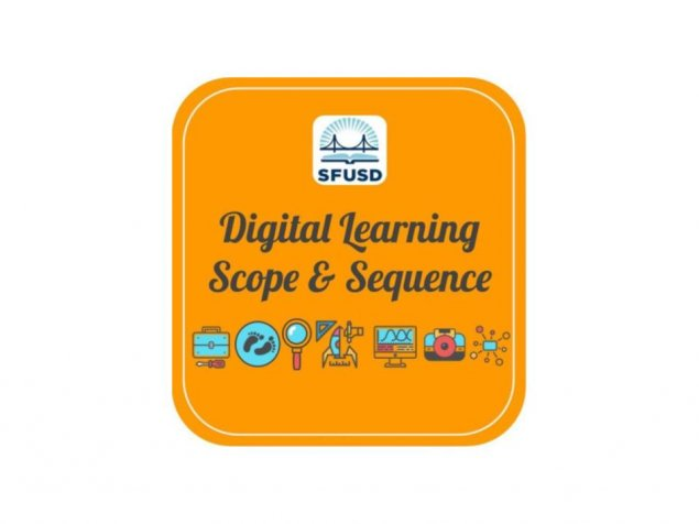 """SFUSD Scope and Sequence"" written in center with district logo above and clipart icons below."