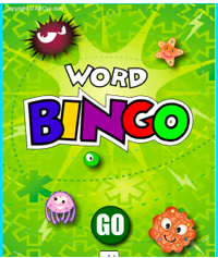 Word Bingo text in different colors with sea animals clipart
