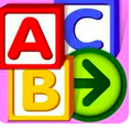Clipart of three blocks with A, B, C and right arrow in circle