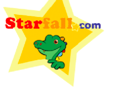 Dragon clipart in a star with Starfall.com heading