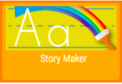 Upper & Lowercase Letter A with rainbow paintbrush and Story Maker text below