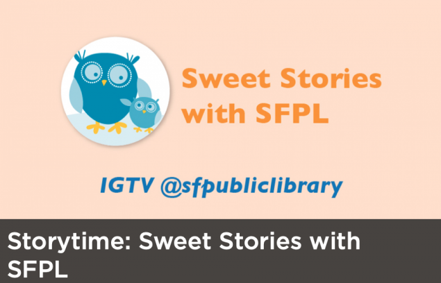 Clip art of two owls in a circle with the Sweet Stories with SFPL heading to the left