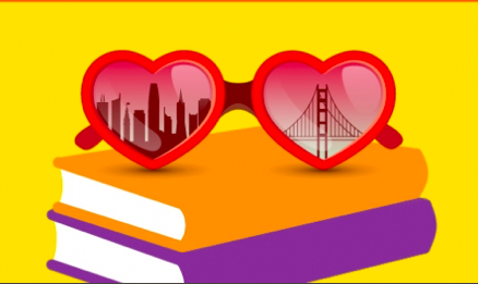 Illustration of heart sunglasses with the Golden Gate Bridge and Downtown San Francisco reflected in the lenses sitting on top of two books
