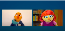 Picture of a grown up puppet and a little girl puppet talking in a virtual meeting