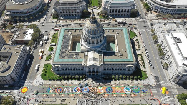 City Hall Murals at Rise for Climate March 2018